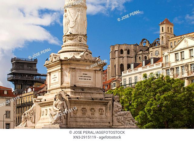 Column of Pedro IV, on background view of the Santa Justa Lift or Carmo Lift, and apse of the Carmo Convent, Rossio Square or Pedro IV Square, Lisbon, Portugal