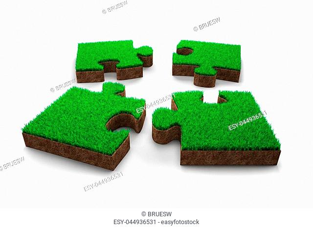 Four jigsaw puzzles made out of green grass and red soil, isolated on white background, 3D illustration