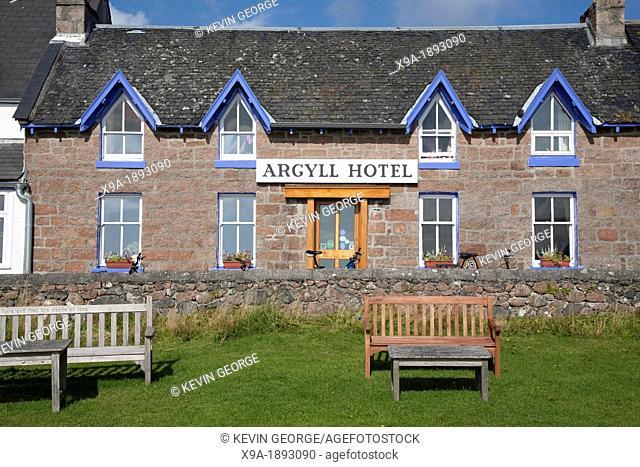 Facade of Argyll Hotel in Isle of Iona, Scotland, UK