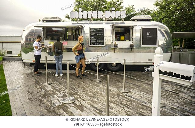 A converted Airstream trailer contains the Mister Dips snack bar located on the terrace of the William Vale Hotel in the Williamsburg neighborhood of New York...