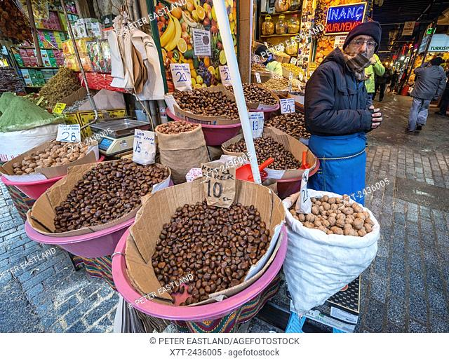 Nuts, on a stall at the entrance to the spice bazaar, Eminonu, Istanbul, Turkey