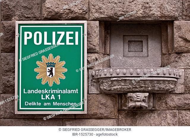 Sign, Polizei, Landeskriminalamt LKA 1, German for police, LKA 1 State Investigation Bureau, state police office, crimes involving human subjects, Berlin