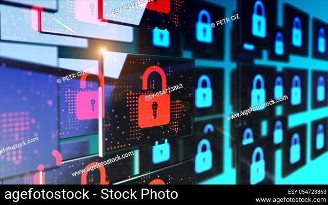 Smart security database technology - Unlocked security padlock