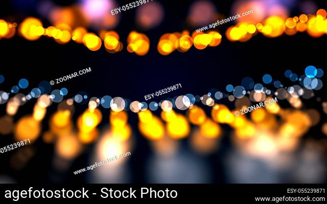 Abstract gold bokeh with black background. Digital 3d rendering