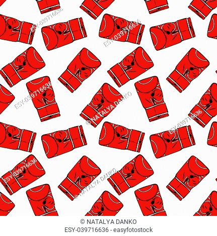 red boxing gloves drawn by hand, seamless repeating pattern isolated on white background