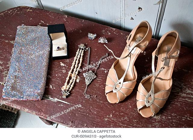 Vintage shoes and accessories, close-up