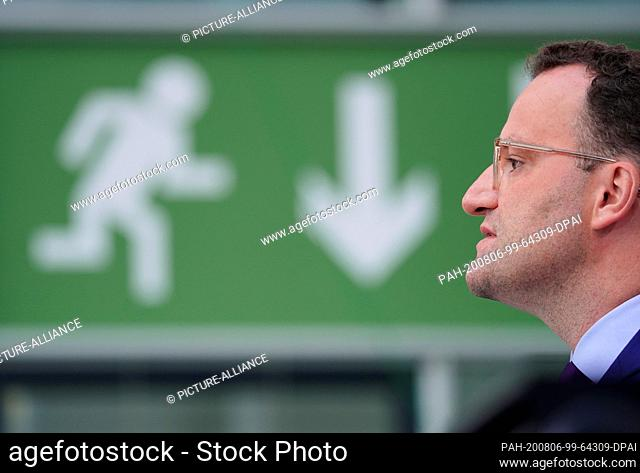 06 August 2020, Berlin: Jens Spahn (CDU), Federal Minister of Health, speaks at a press conference on the current infection situation and the national testing...