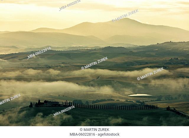 Sunrise overTuscan countryside, San Quirico d'Orcia, San Quirico, Tuscany, Italy