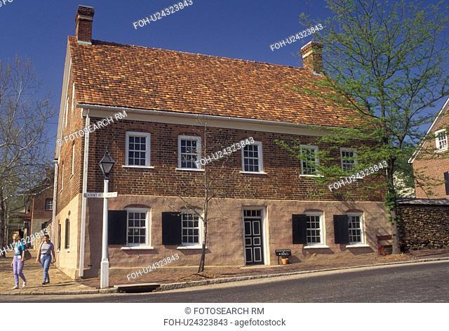 Winston-Salem, NC, Old Salem, North Carolina, Boys School in Old Salem, a living history restoration of the Moravian Church town of Salem founded in 1766