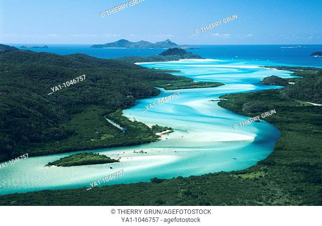 Aerial view of the beautiful sand river Hill Inlet going down to Cid Harbor and Whitehaven beach. Whitsunday island, Whitsunday islands National Park,Queensland