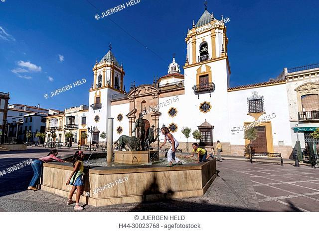 Plaza del Socorro at twilight, Ronda, Andalusia, Spain