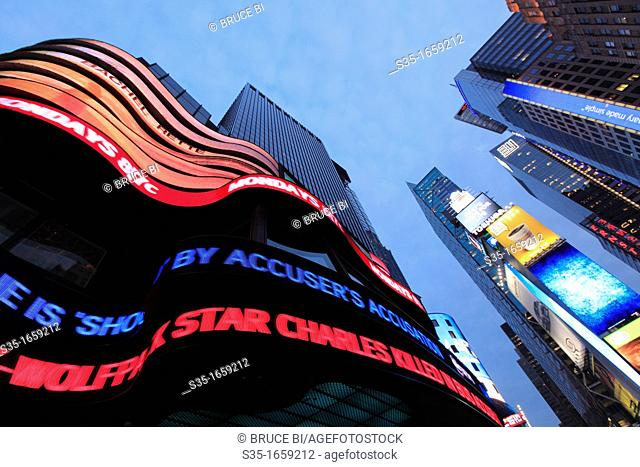 The twilight view of Times Square  Manhattan  New York City  USA