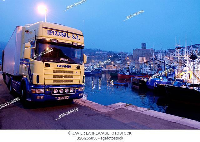 Refrigerator lorry. Fishing port. Getaria. Guipuzcoa. Basque Country. Spain