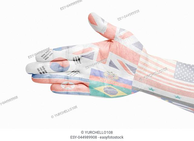 Man hand sign with Flags all countries of world isolated on white background