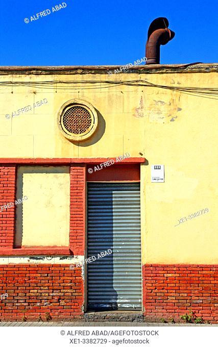 metal gate of industrial building, industrial park, Sant Adrià de Besòs, Catalonia, Spain
