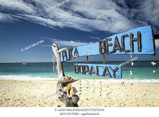 famous puka beach view on tropical paradise boracay island in philippines
