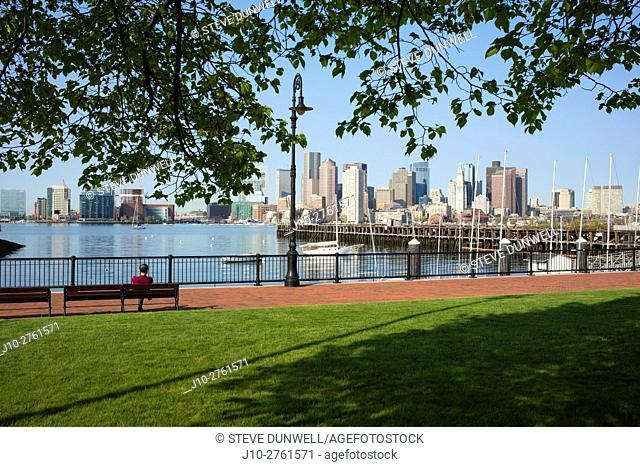 Piers Park, skyline view from East Boston, Massachusetts, USA
