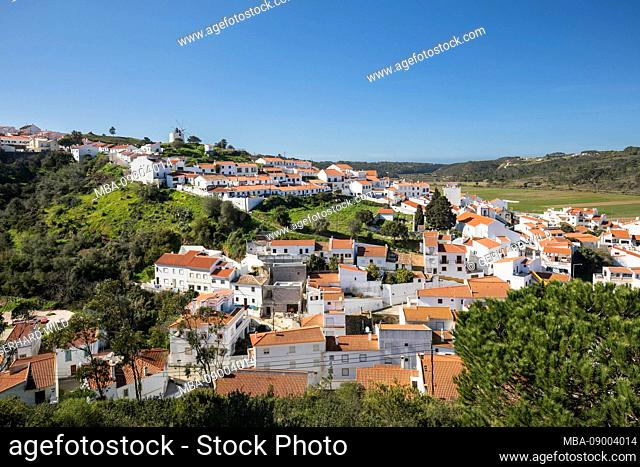 View of Odeceixe, the town is located in the natural park Parque Natural do Sudoeste Alentejano and Costa Vicentina, Algarve, Faro, Portugal