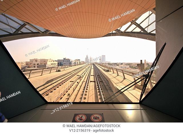 Inside the cabin of Metro, RTA, Dubai, United Arab Emirates