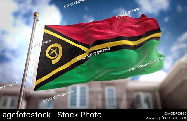Vanuatu Flag 3D Rendering on Blue Sky Building Background