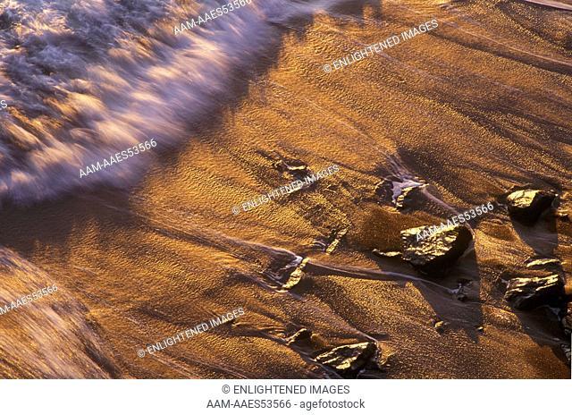 Shoreline wave action at sunset - Marin Headlands Golden Gate NRA California