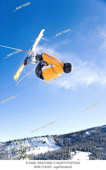 Man in ski jump, Near Sun Valley, Idaho, USA