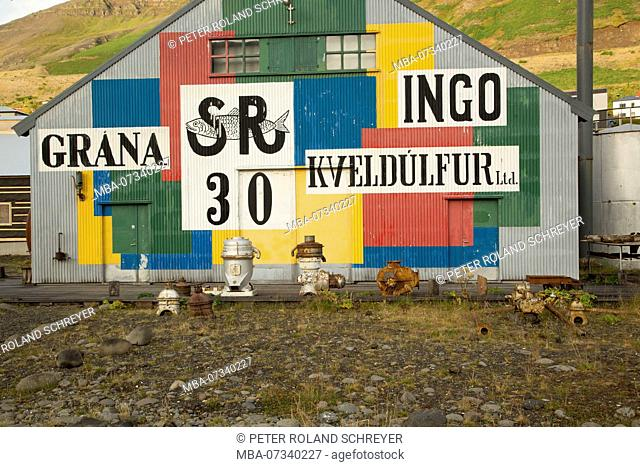 Iceland, Siglufjörður, North Iceland, local history museum, corrugated iron facade, colorful