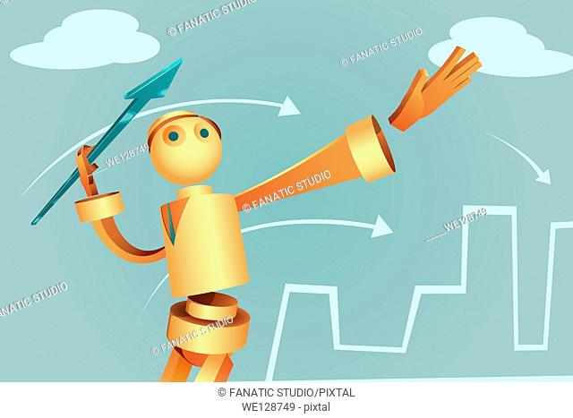 Illustration of robotic businessman aiming arrow to achieve target