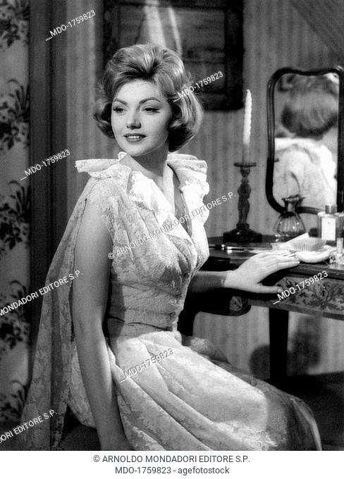 Sylva Koscina in La cambiale. Croatian-born Italian actress Sylva Koscina smiling in the film La cambiale. Rome, 1959