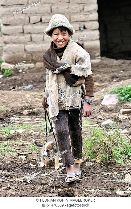 Shepherd boy in traditional dress with puppy on a leash, Altiplano Bolivian highland, Oruro Department, Bolivia, South America