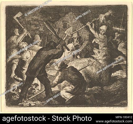 The Bear is Attacked by the Peasants from Hendrick van Alcmar's Renard The Fox. Artist: Allart van Everdingen (Dutch, Alkmaar 1621-1675 Amsterdam); Date:...