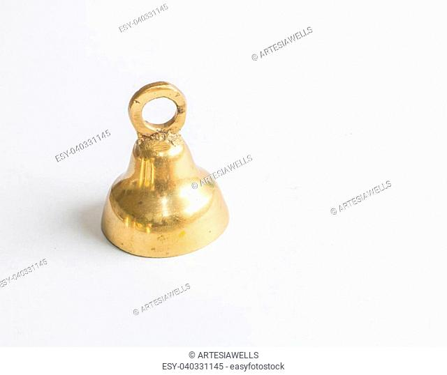 Single brass jingle bell 1 on white background
