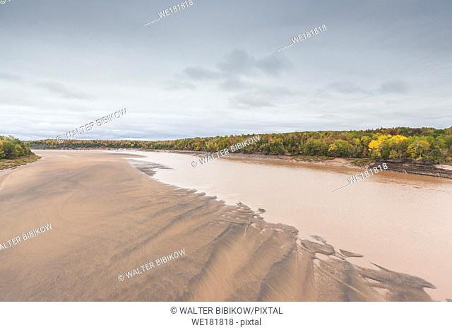 Canada, Nova Scotia, Green Oaks, Fundy Tidal Interpretive Area, elevated view of huge Bay of Fundy tides on the Shubenacadie River
