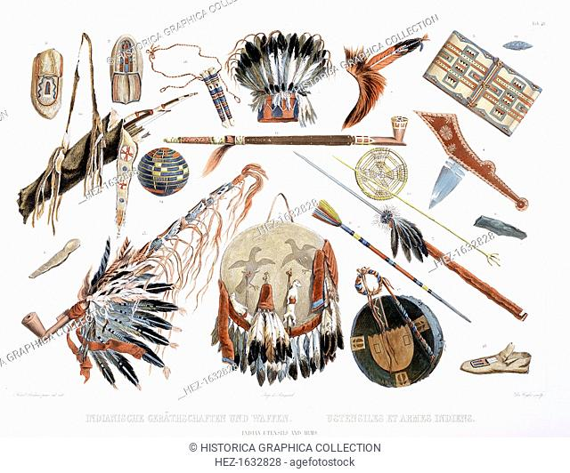 'Indian Utensils and Arms', 1843. Plate 48 from Volume 2 of Travels in the Interior of North America, 1843