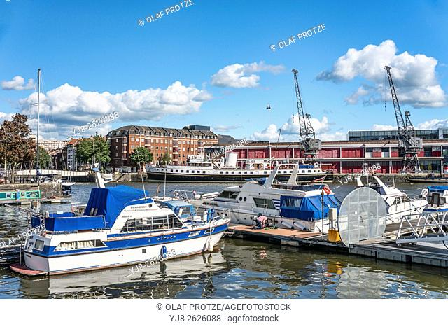 Marina at the Millenium Square Landing in the Floating Harbour of Bristol, Somerset, England, United Kingdom