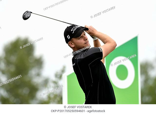 Morten Orum Madsen from Danmark in action during the 6th Annual D+D REAL Czech Challenge men's golf tournament, which is part of the European Challenge Tour at...