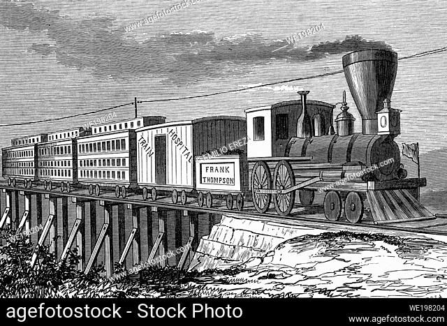 Train to transport wounded soldiers. Nashville, during the civil war. Antique illustration. 1865