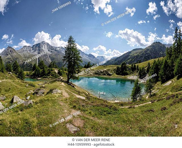 Lac Bleu, lake, landscape, water, summer, mountains, lake, people, swimming, Gouille, Val d'Herens, Wallis, Valais, Switzerland, Europe