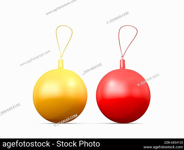 Red and golden yellow glossy christmas balls with ropes, isolated on white background