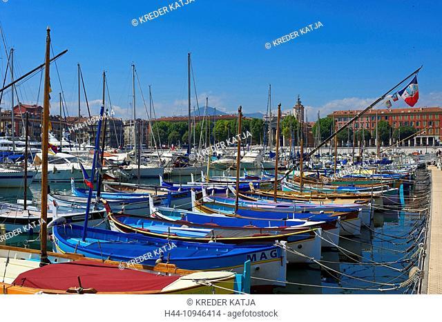 France, Europe, South of France, Cote d'Azur, Nice, port Lympia, Quartier du port, fishing harbour, harbour, port, fishing boats, boats, bright, outside, day