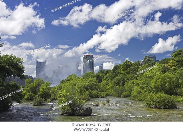 The Niagara River looking towards Niagara Falls Ontario from the Three Sisters Islands, Niagara Falls State Park New York, USA