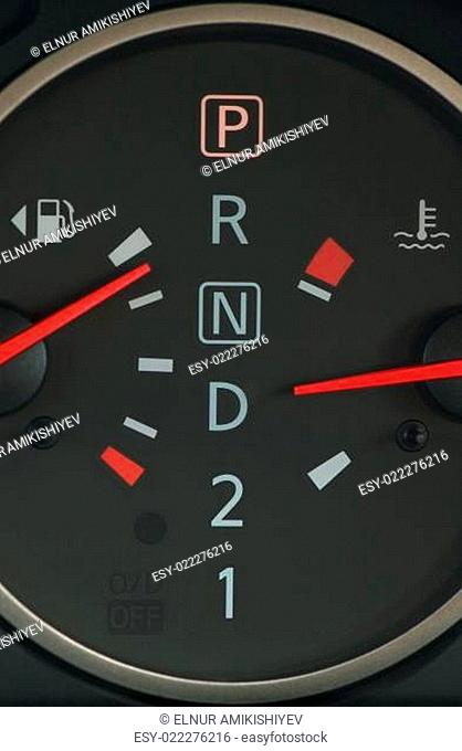 Close up of oil and petrol meter