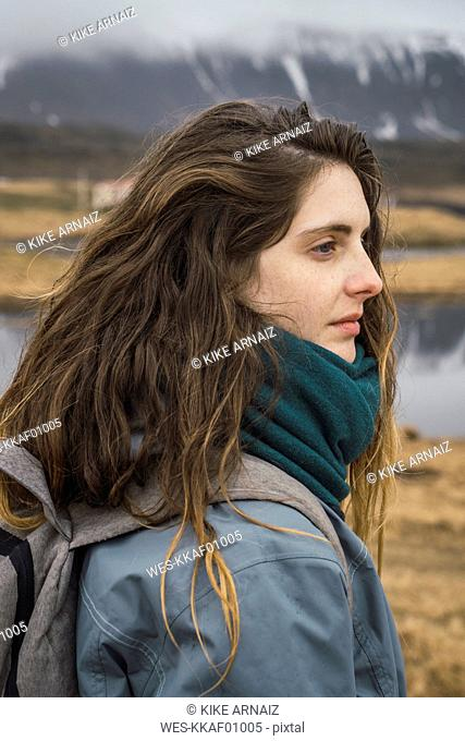 Iceland, portrait of young woman