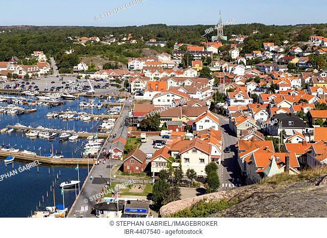 Houses, guest marina, Grebbestad, Bohuslän, West Sweden, Sweden