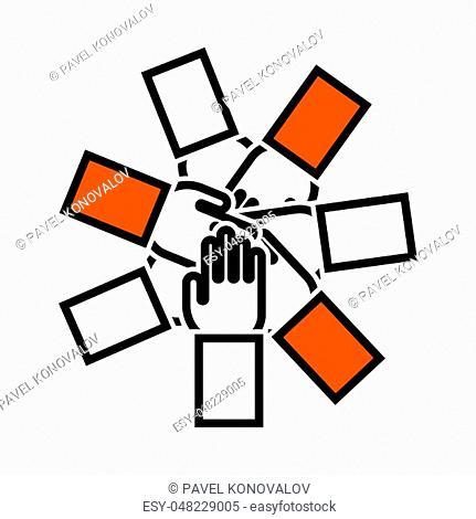 Unity And Teamwork Icon. Thin Line With Orange Fill Design. Vector Illustration