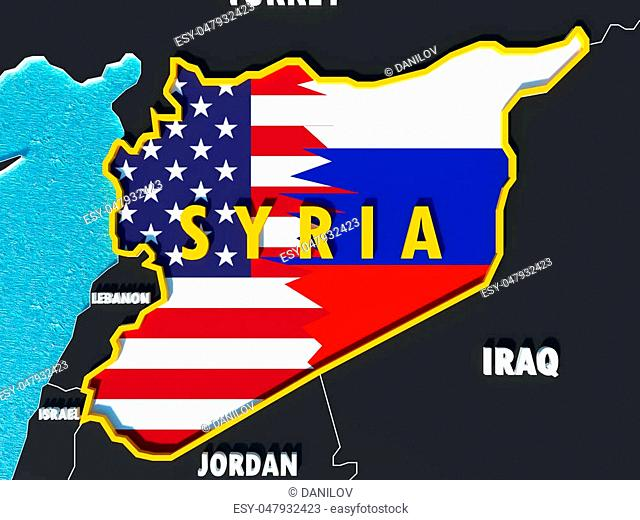 Concept of map of Syria divided with USA and Russia flags with surrounding countries