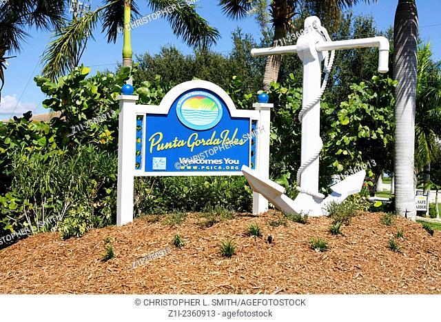 Punta Gorda Islands, Florida Welcome sign