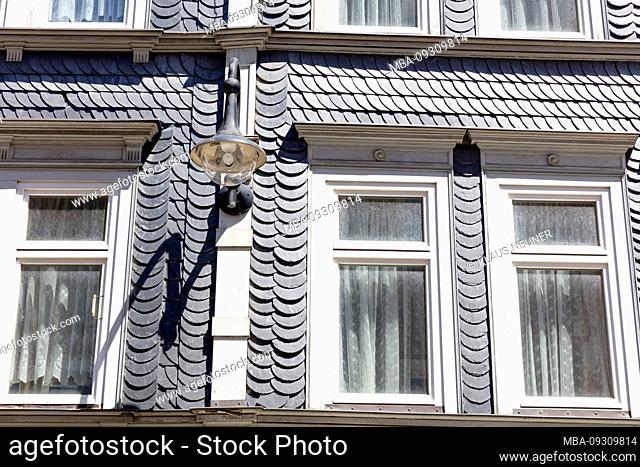 House facade, slate, city view, facade, historical, Eisenach, Thuringia, Germany, Europe