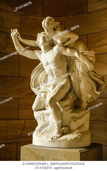 Sculpture at the entrance to the National Gallery of Neoclassical art on Bodenstrasse in Berlin, Germany