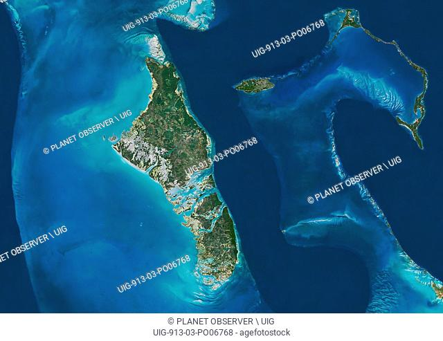 Satellite view of Andros, New Providence and Eleuthera Islands, Bahamas. New Providence is the most populous island in the Bahamas and it houses the capital...